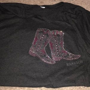 Tops - Branson cowgirl shirt with bling boots